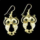 Gold Wise Owl Smart Wisdom Teacher Swarovski Crystal Earrings