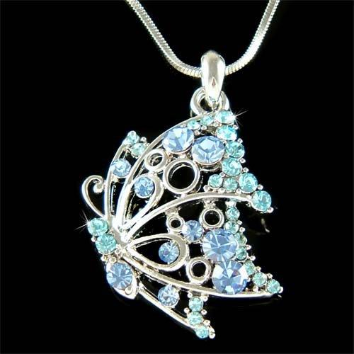 Filigree Butterfly Swarovski Crystal Bridal Pendant Necklace