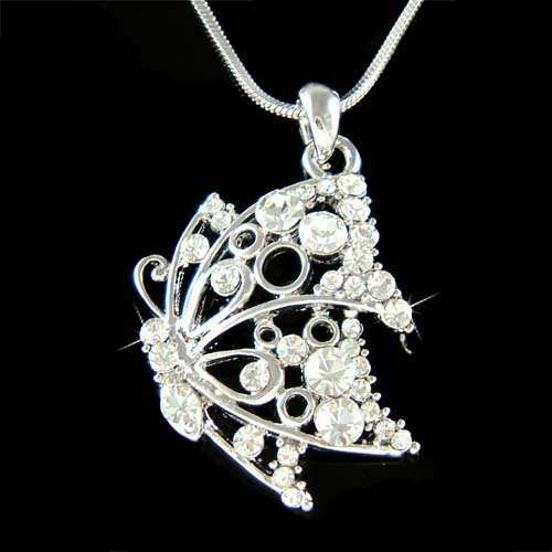 Clear Cutout Butterfly Swarovski Crystal Bridal Pendant Necklace