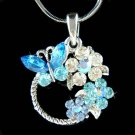 Blue Swarovski Crystal Butterfly Flower Wreath Pendant Necklace