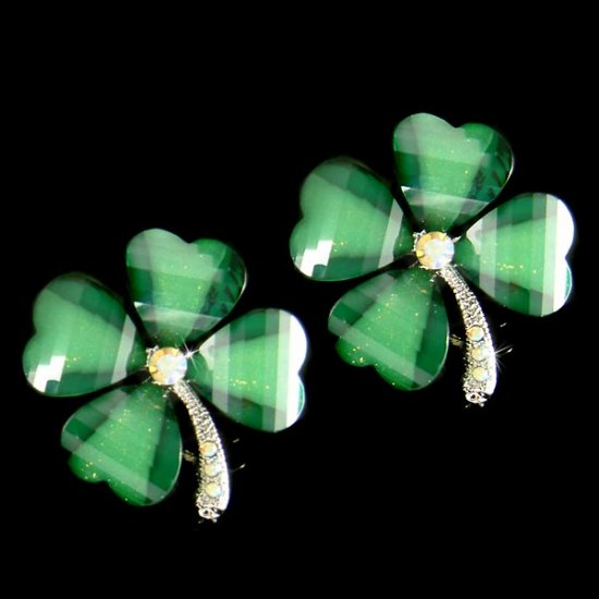 St Patrick's Lucky 4 Leaf Clover Swarovski Crystal Stud Earrings