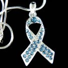 Swarovski Crystal Blue Colon Cancer Awareness Ribbon Necklace