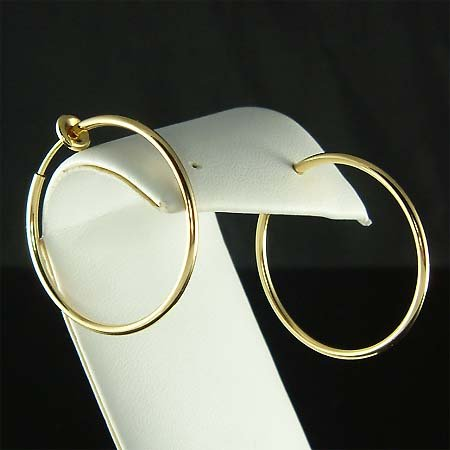 "1 1/4""(32mm) 14K Gold-Plated Round Hoop Clip On Earrings"