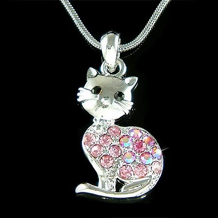 Pink Kitty Cat Swarovski Crystal Kittenl Pet Pendant Necklace