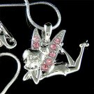 Pink Tinker Bell Swarovski Crystal Tinkerbell Fairy Necklace