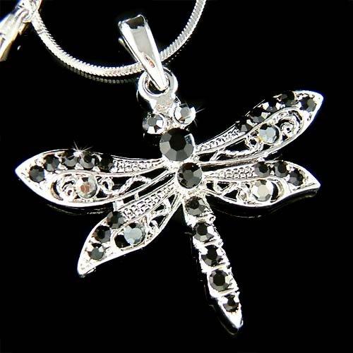 Black Swarovski Crystal Filigree Sexy Dragonfly Pendant Necklace