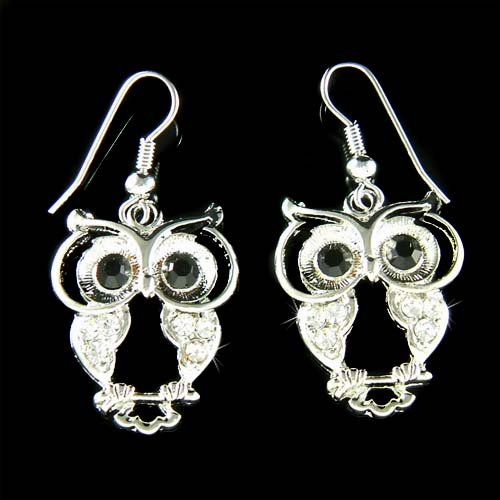 Silver Wise Owl Smart Wisdom Teacher Swarovski Crystal Earrings