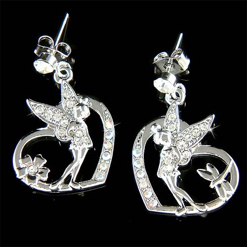 Tinkerbell in Love Cutout Heart Swarovski Crystal Fairy Earrings