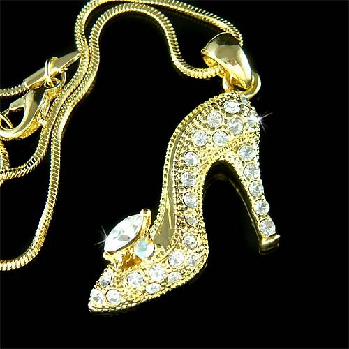 Gold Cinderella Glass Slippers Hight Heel Shoes Crystal Necklace
