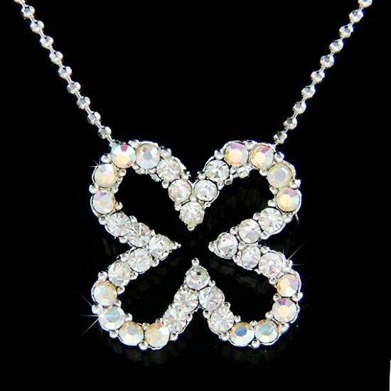 Bridal 4-leaf Clover Shamrock Ireland Swarovski Crystal Necklace