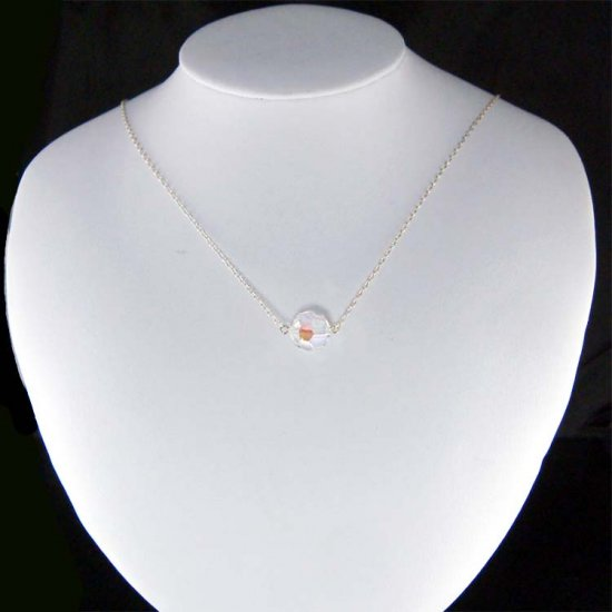 12mm Aurora Borealis Swarovski Crystal Sterling Silver Necklace