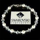 Swarovski Pearl and Crystal Bridal Sterling Silver Bracelet