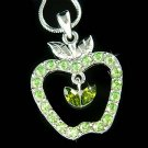 Delicious Juicy Green Apple Swarovski Crystal Pendant Necklace