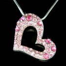 Sparkling Swarovski Crystal Pink Heart Pendant Chain Necklace