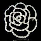 Bridal Swarovski Crystal Cutout Rose Floral Bouquet Hair Brooch