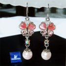 Pink Rose Bridal Swarovski Crystal & Pearl Butterfly Earrings