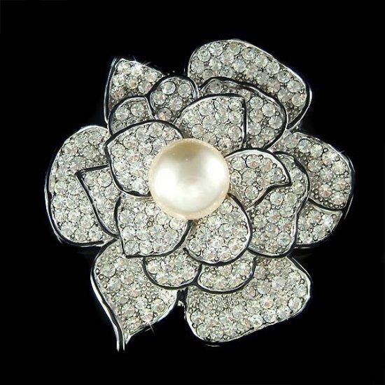 Swarovski Crystal Rose Flower Mother of Bride Bouquet Pin Brooch