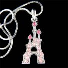 Pink Swarovski Crystal Princess Fairy Castle Pendant Necklace