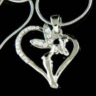 Tinkerbell Heart Fairy Swarovski Crystal Pixie Pendant Necklace