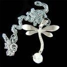 Swarovski Crystal & CZ Dragonfly Bridal Wedding Pendant Necklace