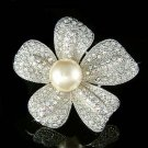 Holiday Swarovski Crystal 5 Petals Pearl Flower Floral Brooch