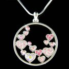 Pink Swarovski Crystal Floating Circle Of Love Heart Necklace