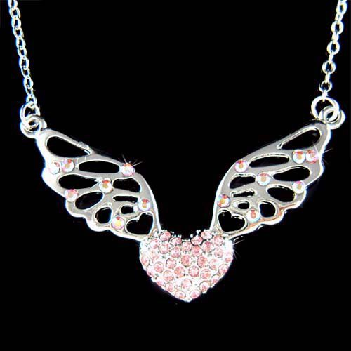 Bling Pink Heart Fairy Angel Wings Swarovski Crystal Necklace