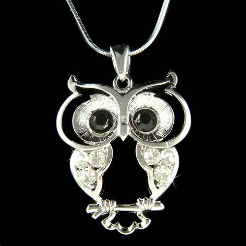 Wise Owl Wisdom Teacher Smart Student Swarovski Crystal Necklace