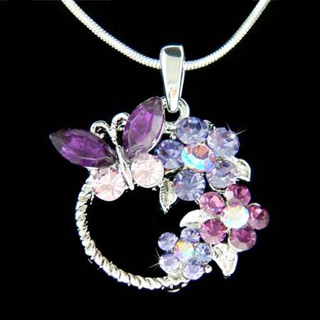 Purple Swarovski Crystal Butterfly Flower Blossom Charm Necklace