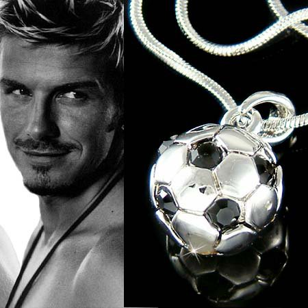 3D Round Football Soccer Ball Swarovski Crystal Pendant Necklace