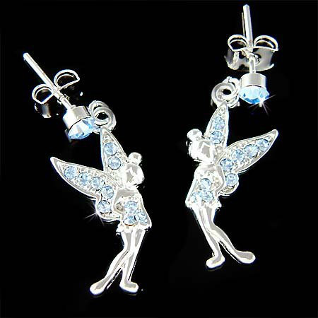 Couture Blue Swarovski Crystal Tinkerbell Fairy Pixie Earrings