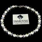 Bridal Swarovski Crystal & White Pearl Anklet for Beach Wedding