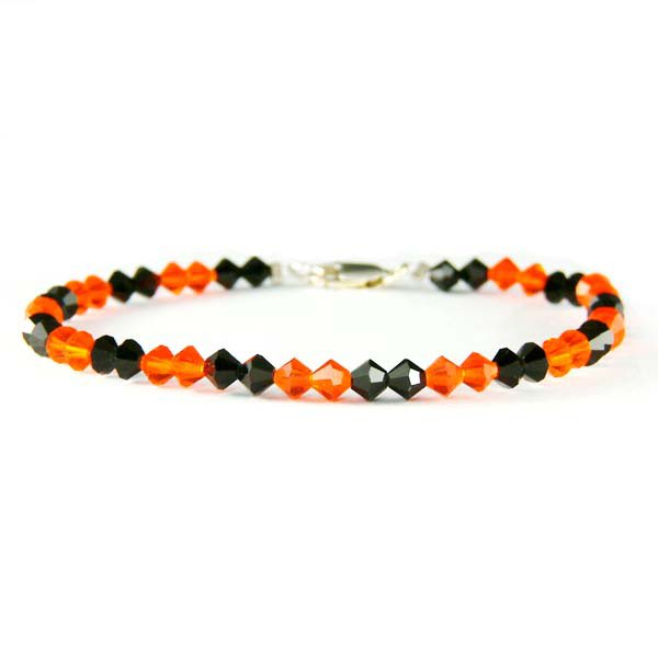 Halloween Pumpkin Orange Spooky Black Swarovski Crystal Bracelet