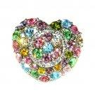 Rainbow Love Heart Flower Swarovski Crystal Cocktail Ring