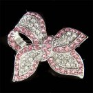 Pink Love Knot Bow Swarovski Crystal Brooch for Wedding Dress