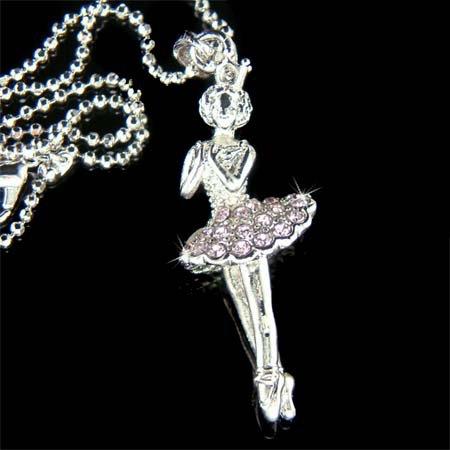 Ballerina Ballet Dancer Purple Swarovski Crystal Charm Necklace