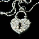 Key to My Heart Swarovski Crystal Love Padlock Pendant Necklace