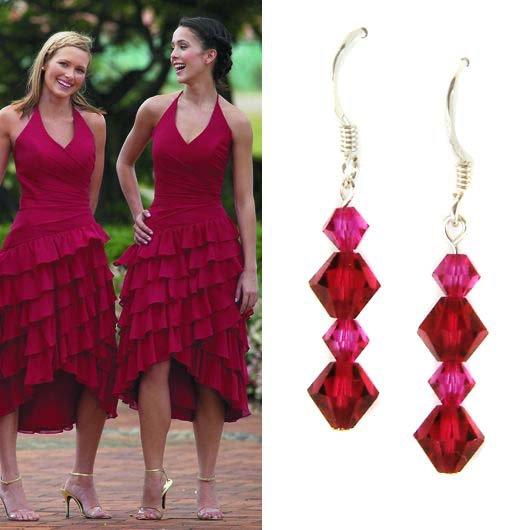 Ruby Fuchsia Hot Pink Swarovski Crystal Sterling Silver Earrings
