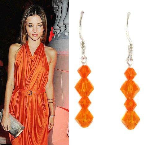 Bridal Bright Orange Swarovski Crystal Sterling Silver Earrings