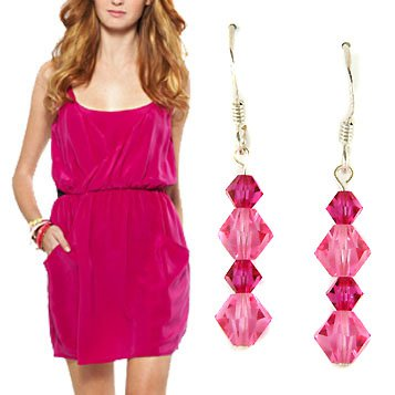Rose Fuchsia Hot Pink Swarovski Crystal Sterling Silver Earrings