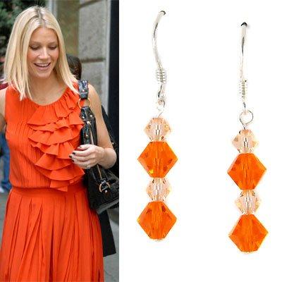 Light Peach Orange Swarovski Crystal Sterling Silver Earrings