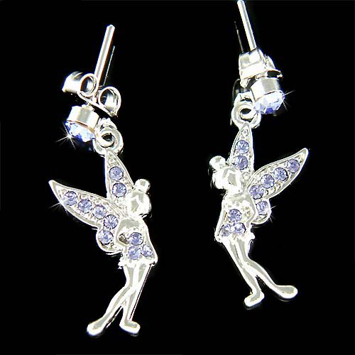Couture Purple Swarovski Crystal Tinkerbell Fairy Pixie Earrings