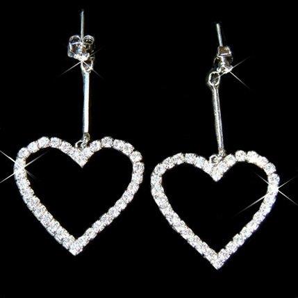 Modern Bride Swarovski Clear Crystal Cut Out Heart Earrings