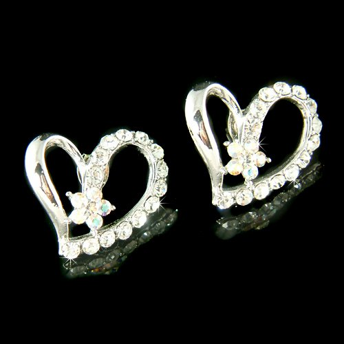 Bridal Wedding Cute Heart Flower Swarovski Crystal Stud Earrings