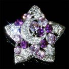 Purple Swarovski Crystal Crescent Moon Star Pendant Pin Brooch
