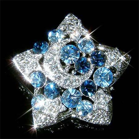 Swarovski Crystal Blue Crescent Moon Star Pendant Pin Brooch