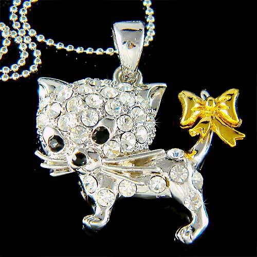 Clear Animal Lover Swarovski Crystal Cat Kitten Pendant Necklace