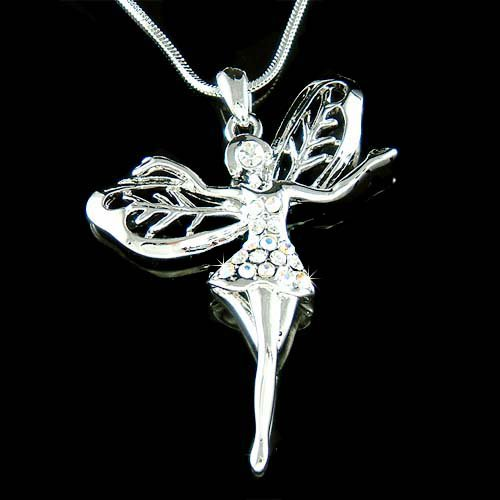 Tinkerbell Fairy Cutout Wings Swarovski Crystal Pendant Necklace
