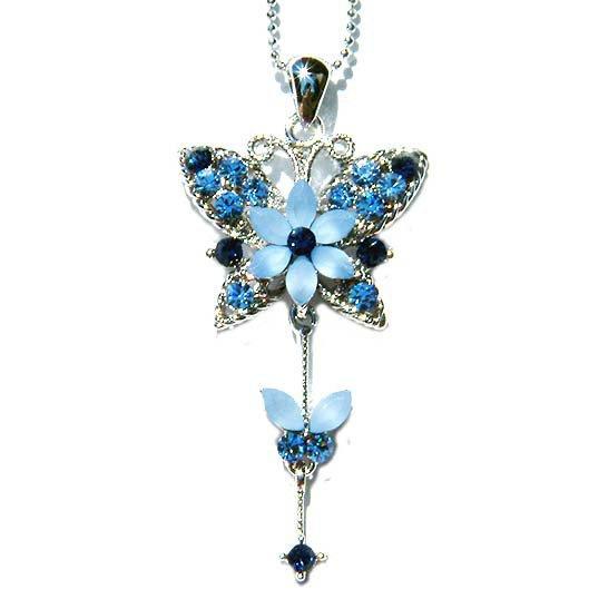 Blue Mother Baby Butterfly Swarovski Crystal Pendant Necklace