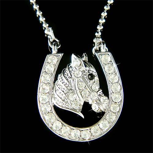Western Bridal Swarovski Crystal Wild Horseshoe Horse Necklace
